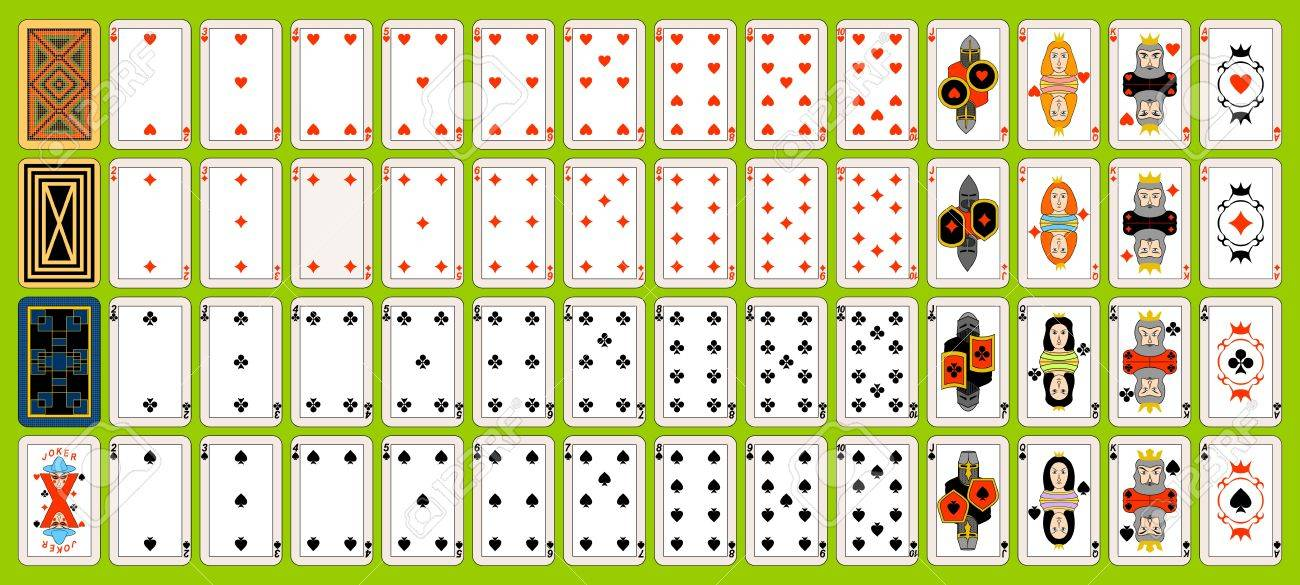 Complete set of playing cards. Playing cards are located on a green background. Stock Vector - 10453105
