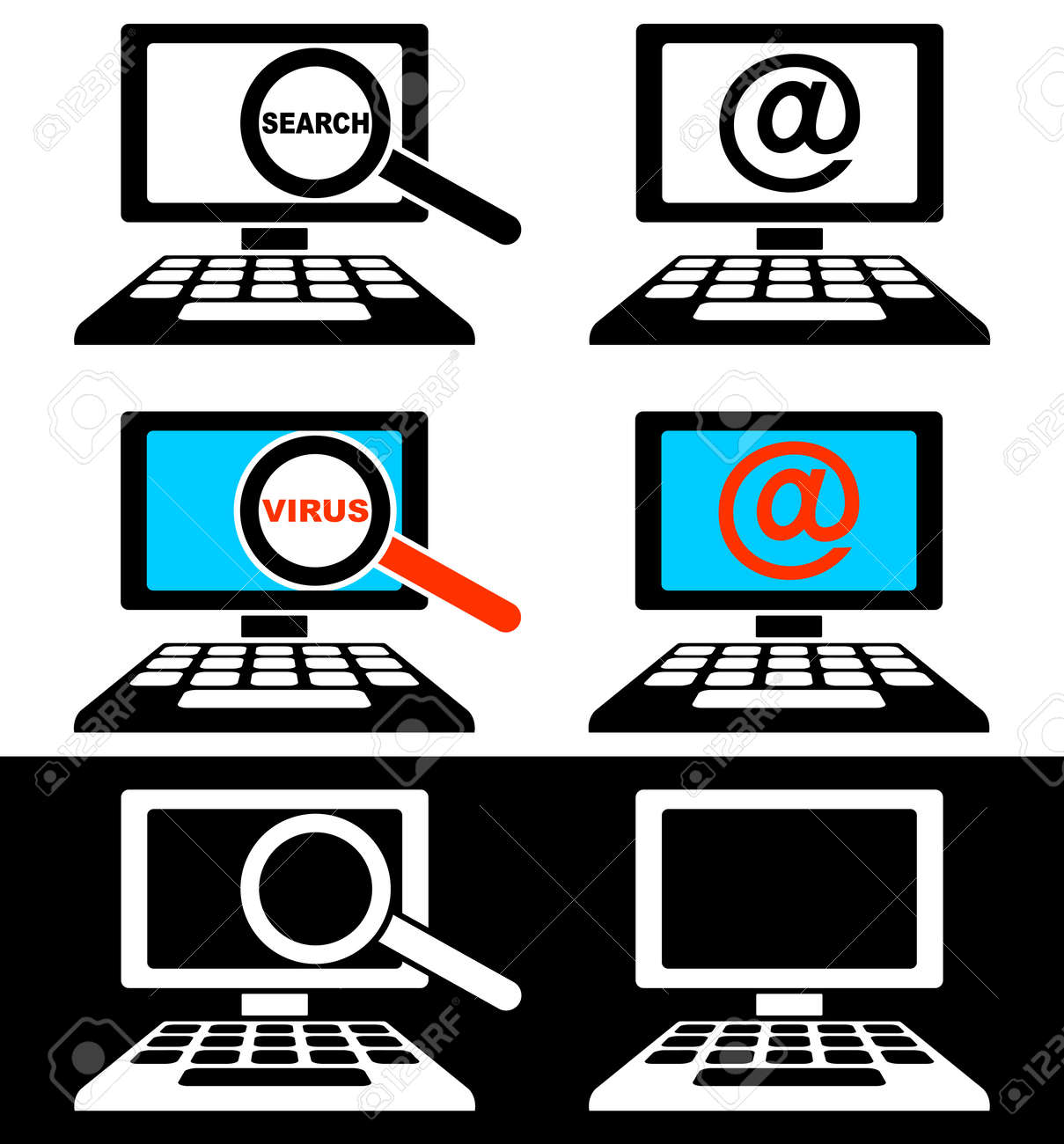 Set of icons of computer monitors on a black and white background. Stock Vector - 15365915