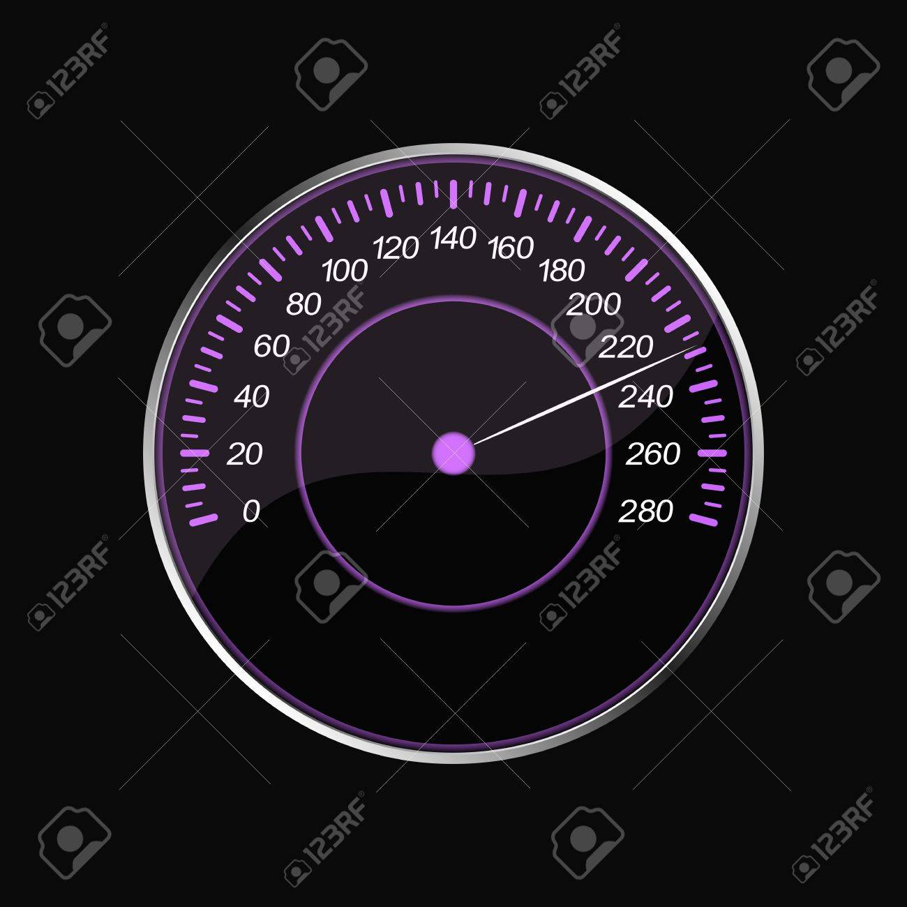 Speedometer on a black background  Violet scale Stock Vector - 21385552