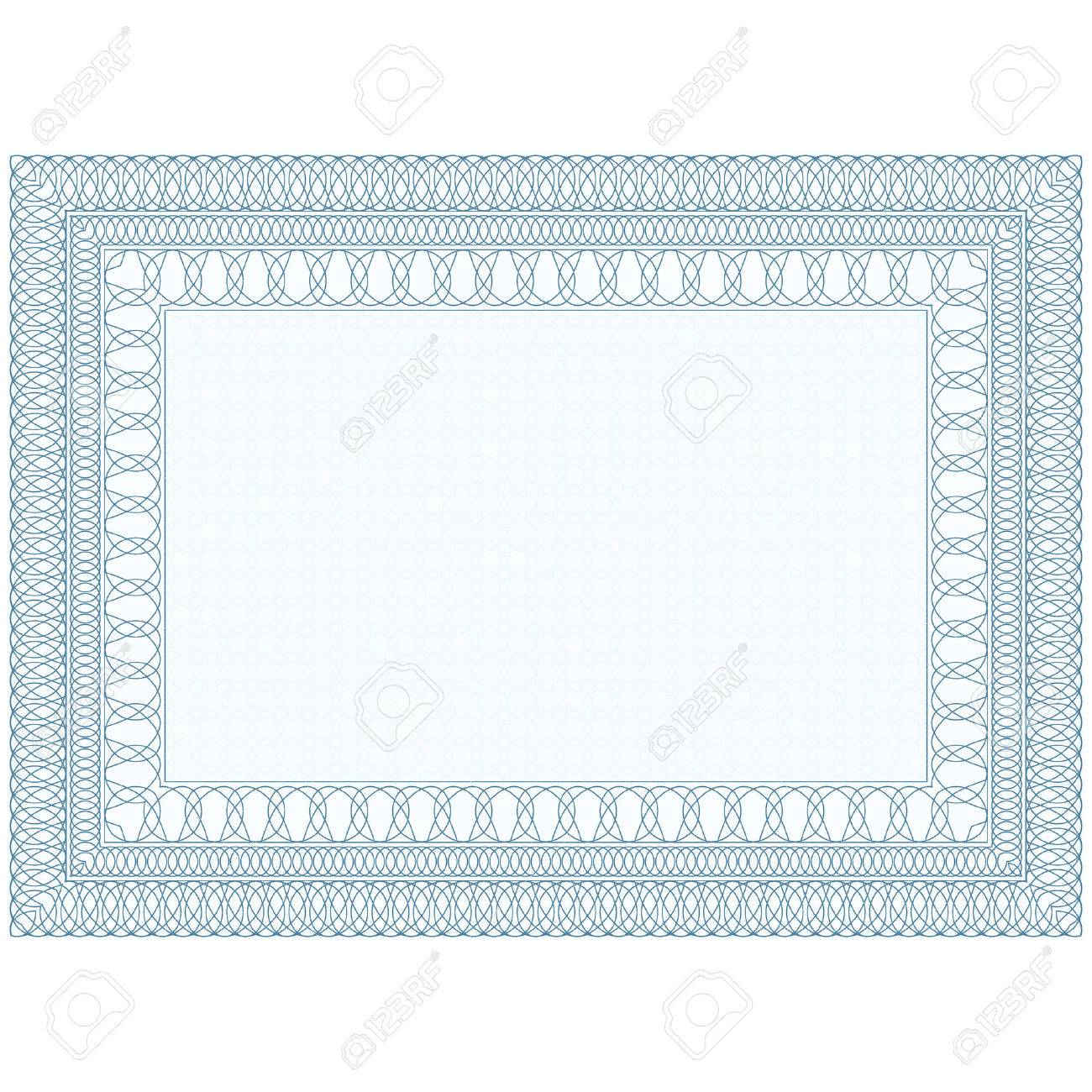 The Empty Form For The Certificate, Guilloche Border Royalty Free ...