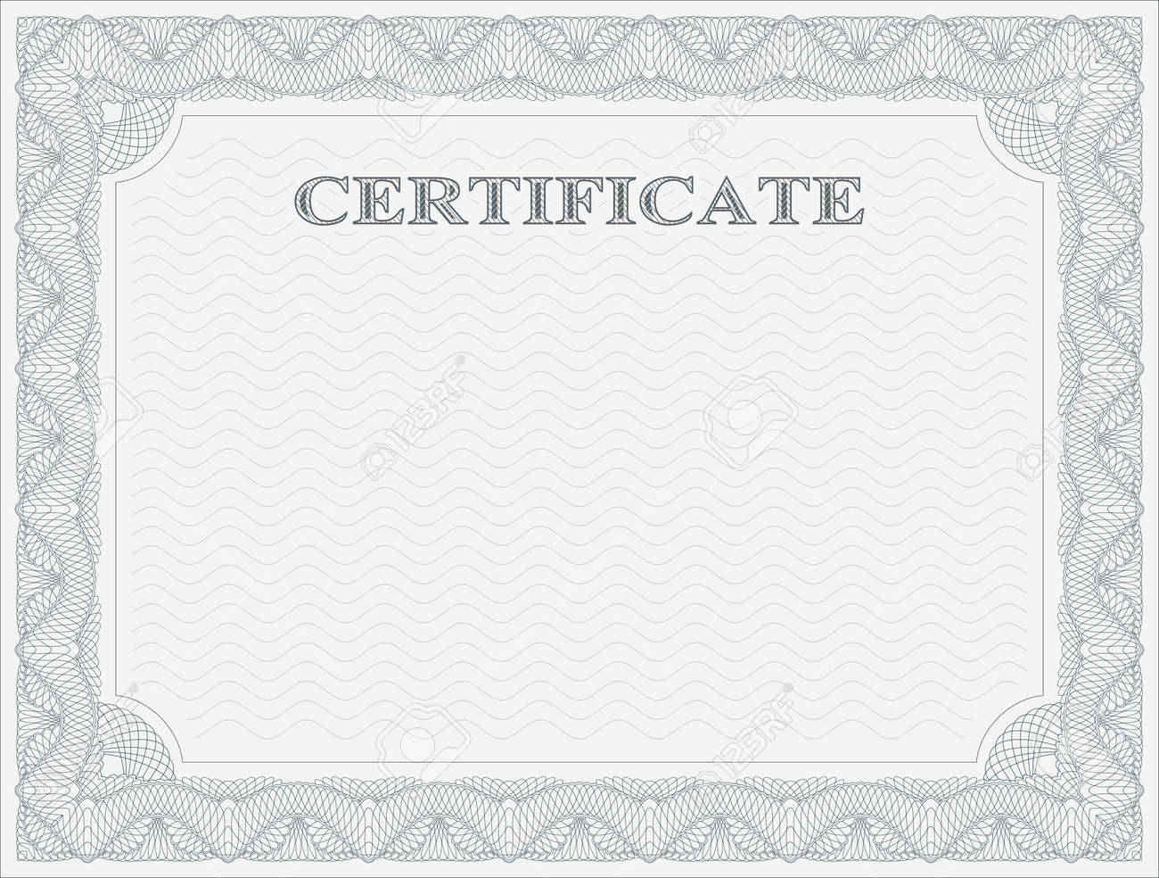 Abstract Guilloche Frame. Horizontal Certificate Template. Royalty ...