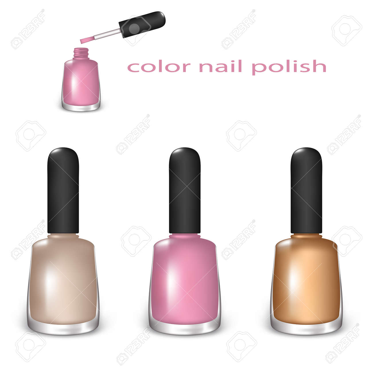 Set Of Color Nail Polish Beige Light Pink And Gold On A White