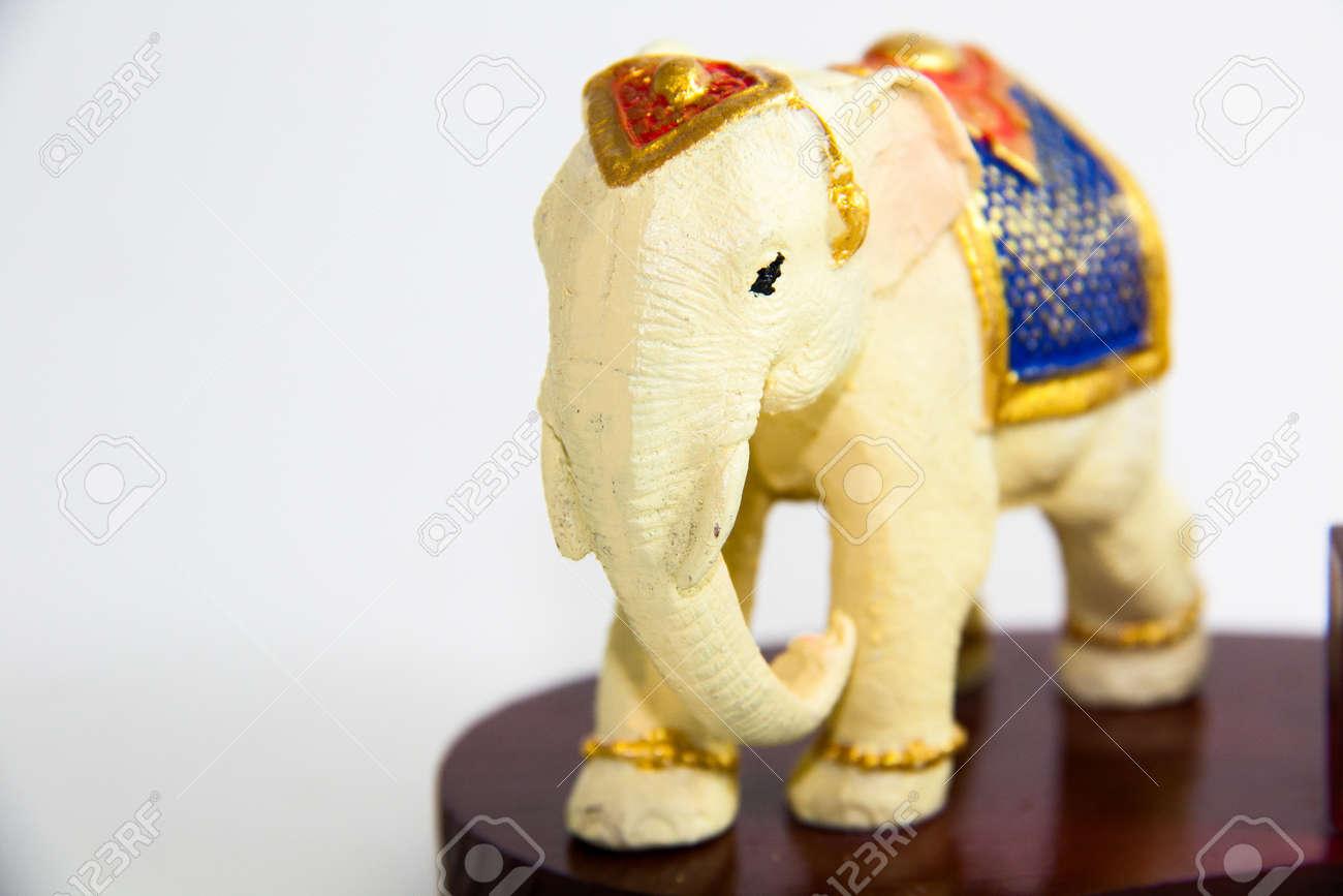 Stock Photo Thai Elephant Color White Resin For Home Decor Thai Souvenir