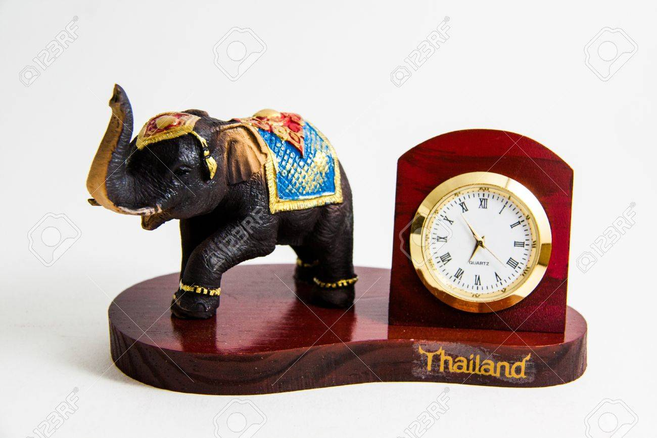thailand elephant color black resin with clock for home decoration