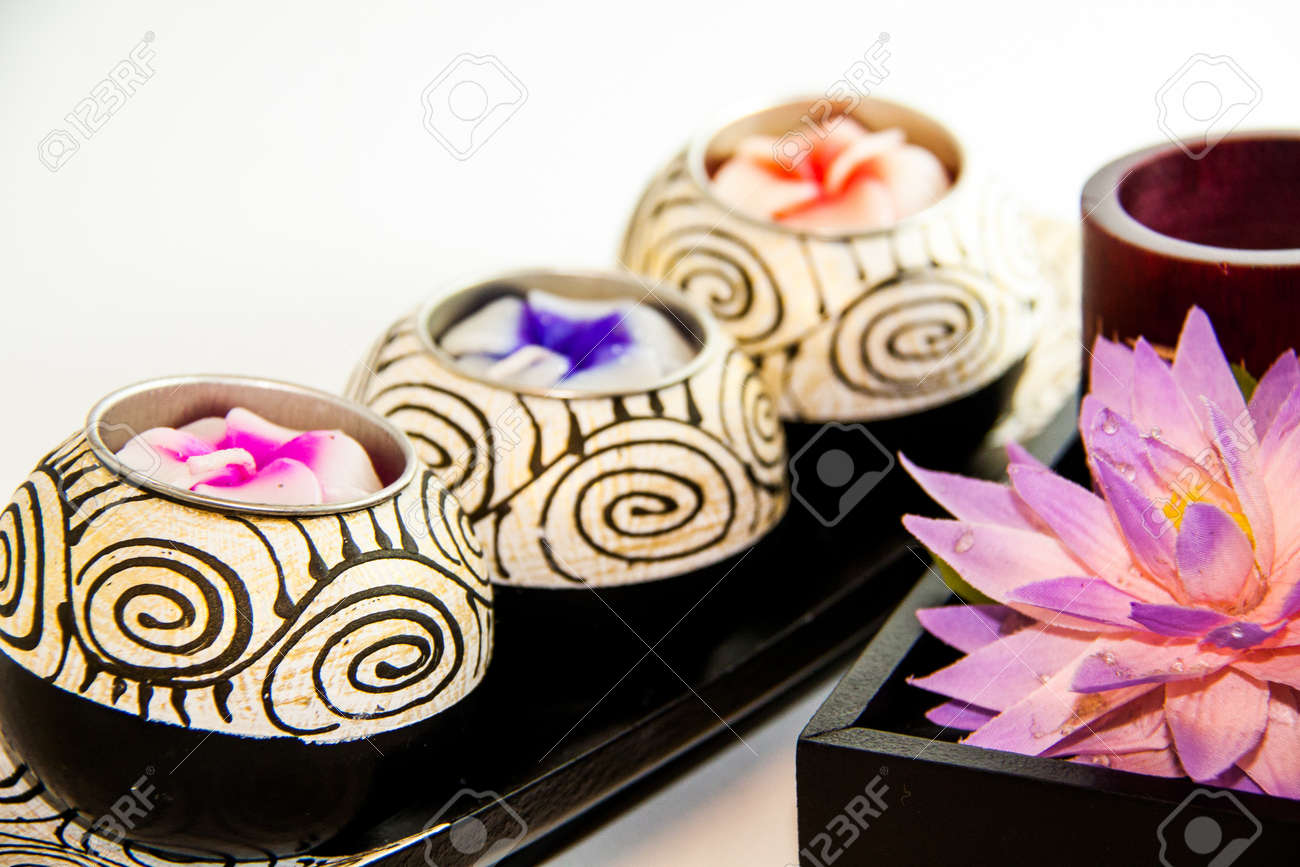 Candle spa therapy tools with flower - Thai souvenir Stock Photo - 21962474