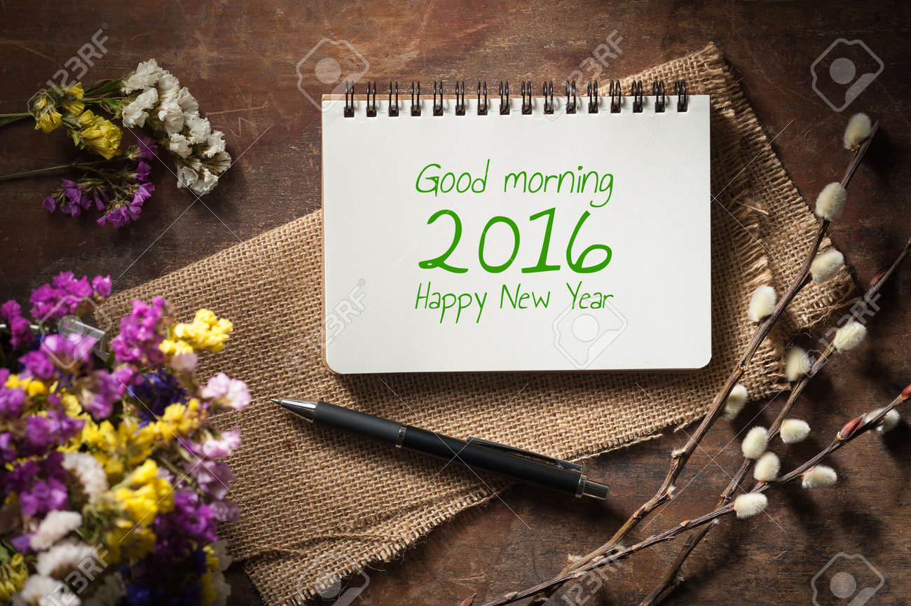 Good Morning 2016 Happy New Year Is Written On Small Notepad