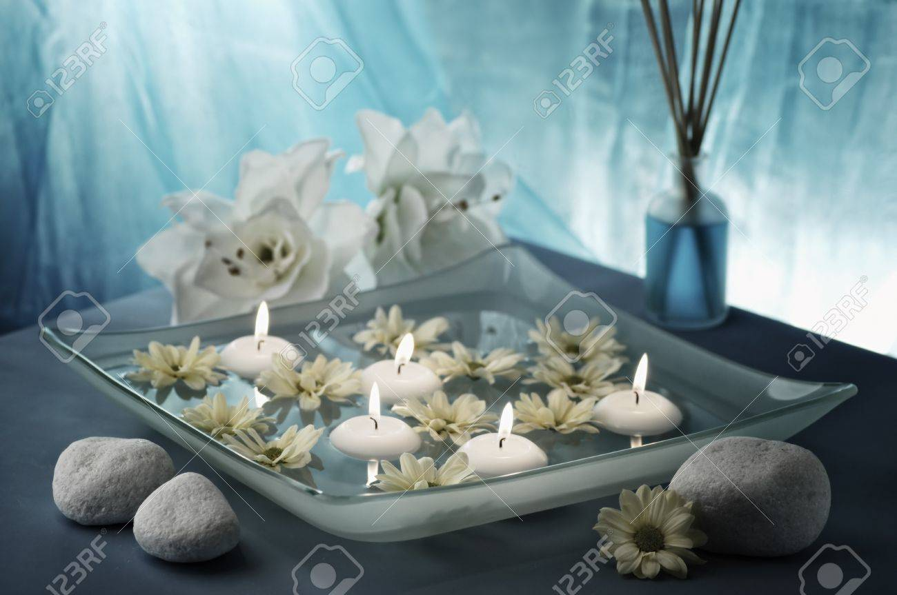 aroma bowl decorated in blue and white colours, selective focus Stock Photo - 19019781