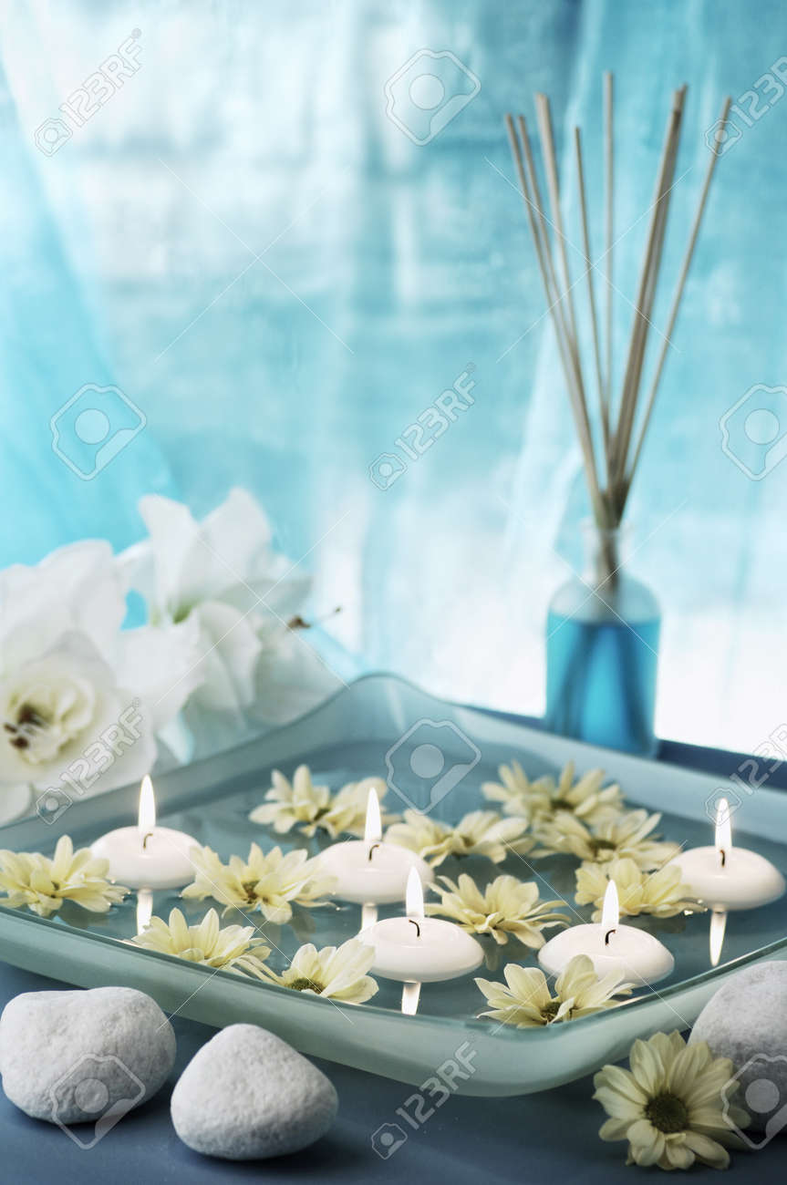 aroma bowl decorated in blue and white colours, selective focus Stock Photo - 19019772