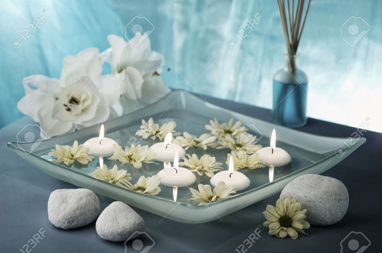 aroma bowl decorated in blue and white colours, selective focus Stock Photo - 19019773