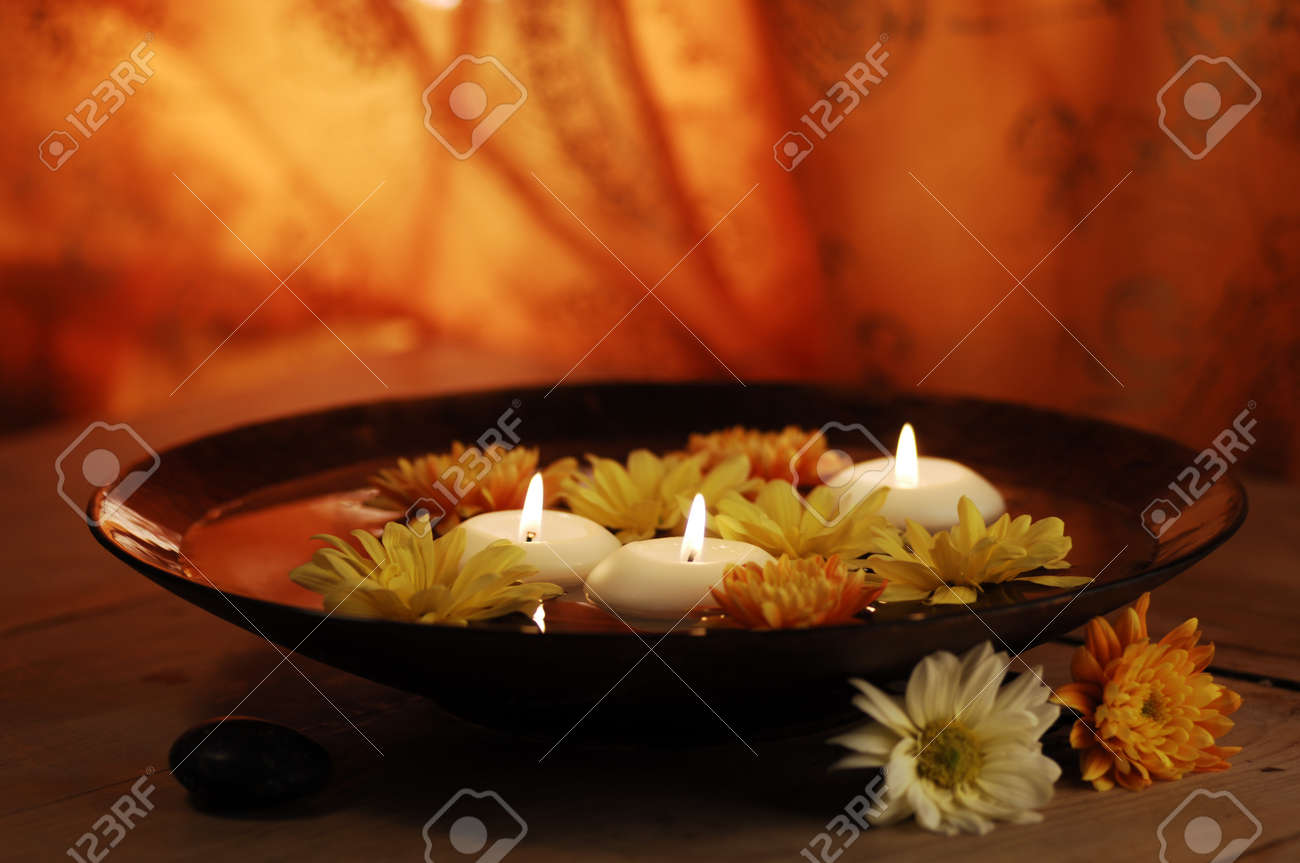 Aroma Bowl With Candles And Flowers Stock Photo - 19019723