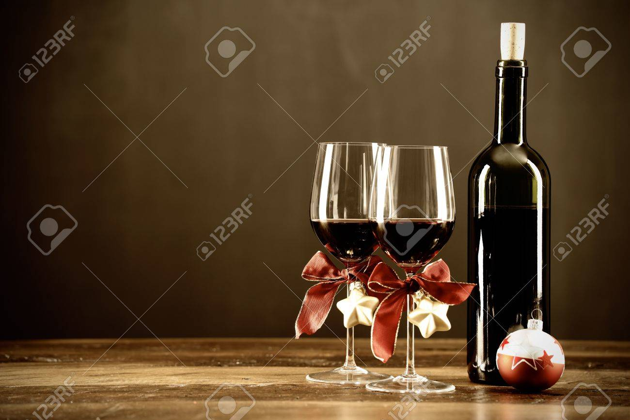 Wine bottle ornaments - Red Wine Bottle And Christmas Ornaments Selctive Focus Stock Photo 21760641