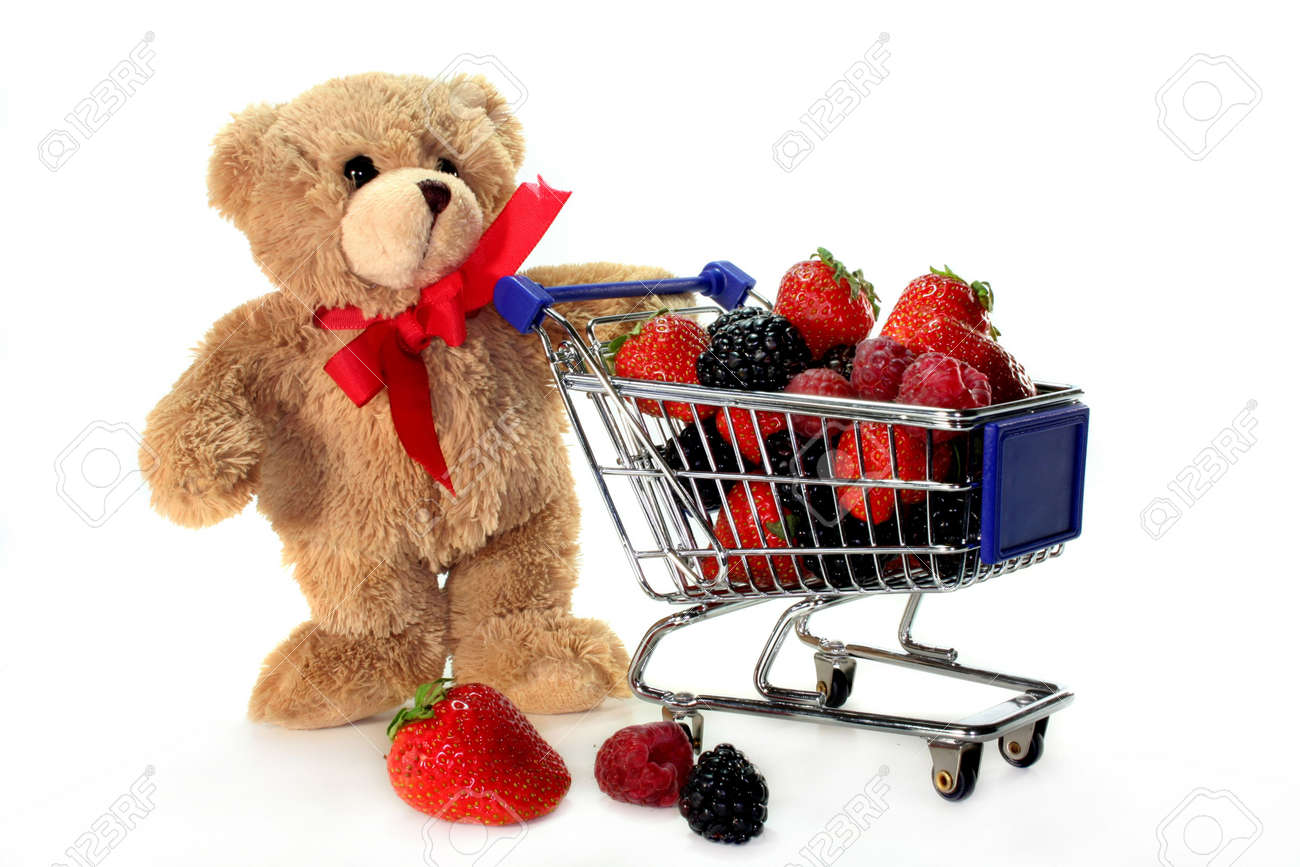 Teddy Laden teddy with shopping carts laden with delicious berries stock photo