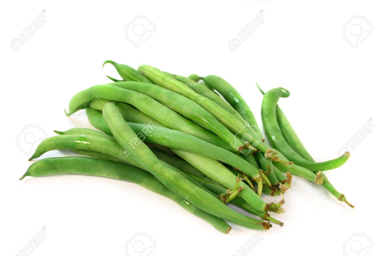 fresh green beans on a white background Stock Photo - 9753679