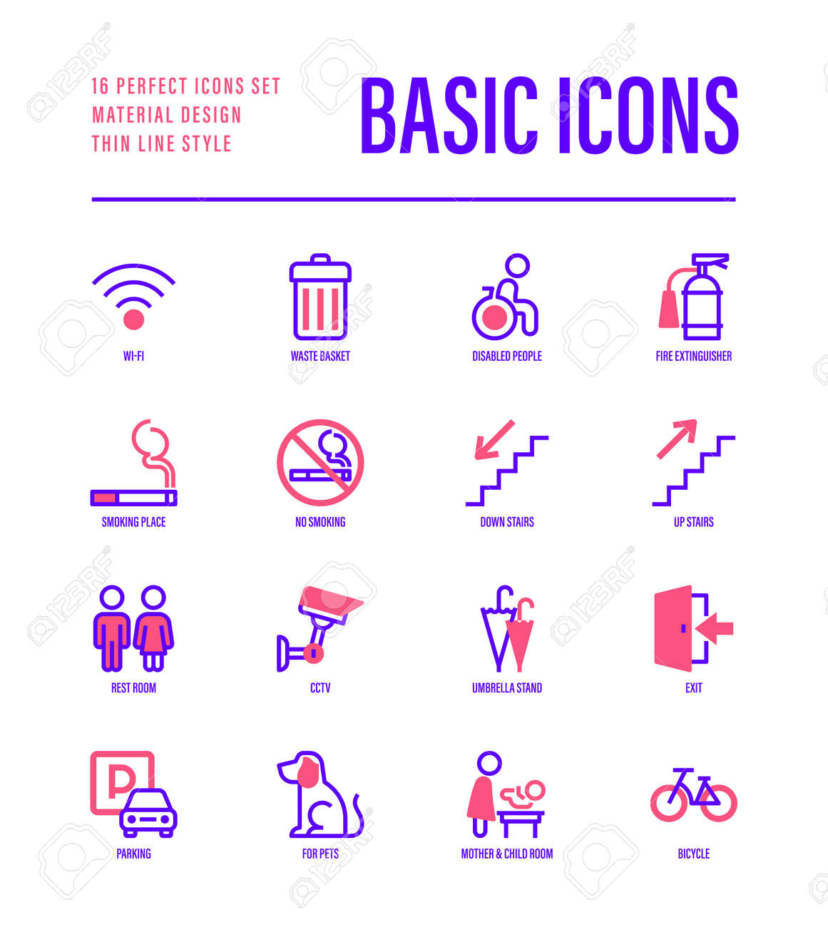 Basic public signs: wi-fi, waste basket, disabled people, fire extinguisher, smoking place, down stairs, up stairs, parking, mother and child room, bicycle. Thin line icons. Vector illustration. - 148396871