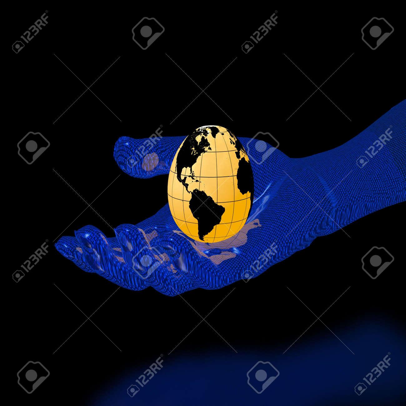 globe-egg on binary hand (high resolution 3D image) Stock Photo - 2667468