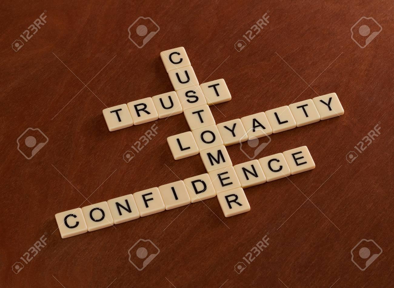 Cruciverba con parole fiducia fedeltà fiducia. concetto di