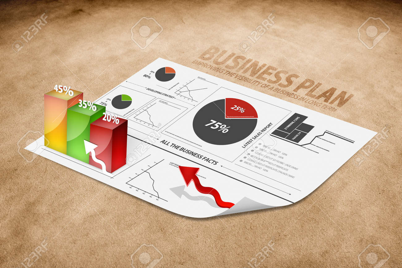 Diagram of a 3d business plan on brown paper Stock Photo - 13060248