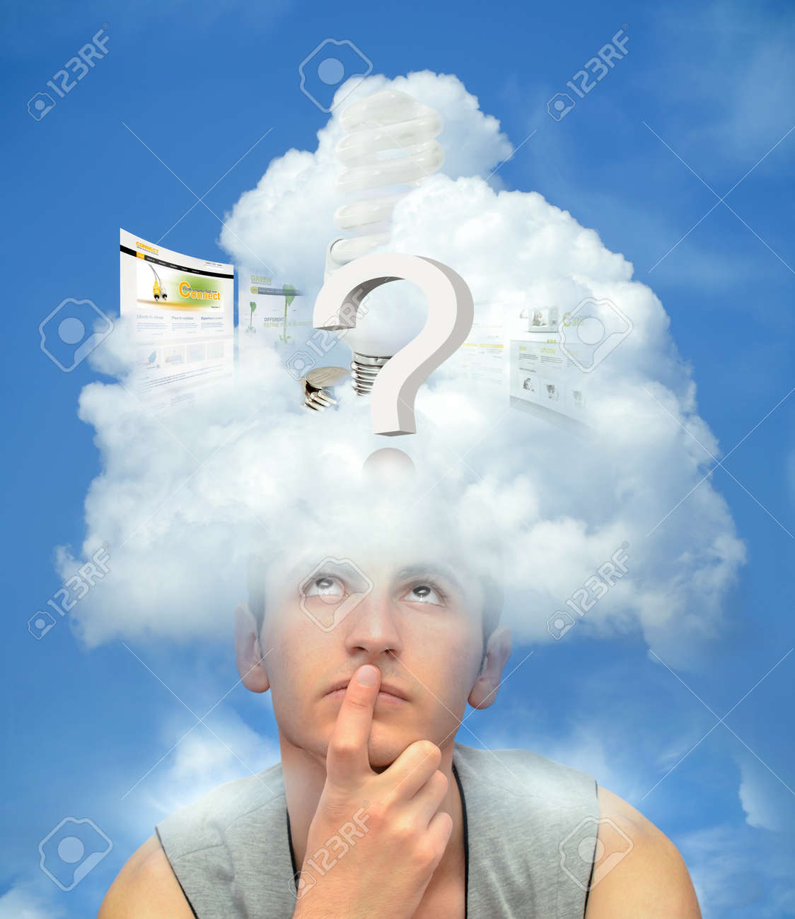 Young man with the head in the clouds thinking Stock Photo - 15259762