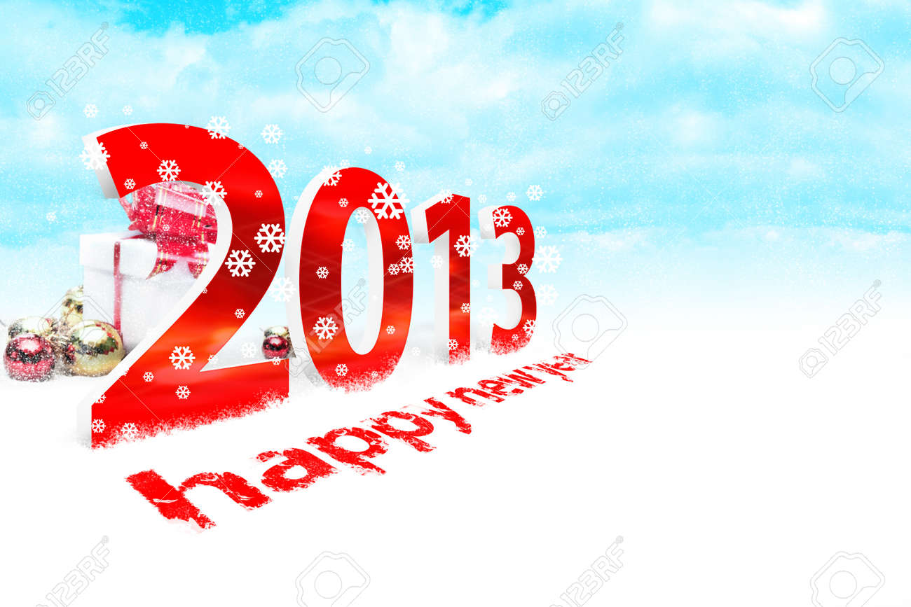 Illustration of the new year 2013 with snow Stock Illustration - 15754102