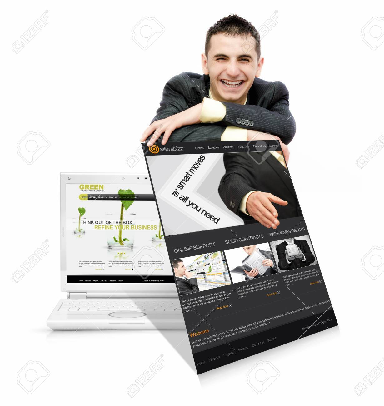 Businessman who offer online services Stock Photo - 17506672