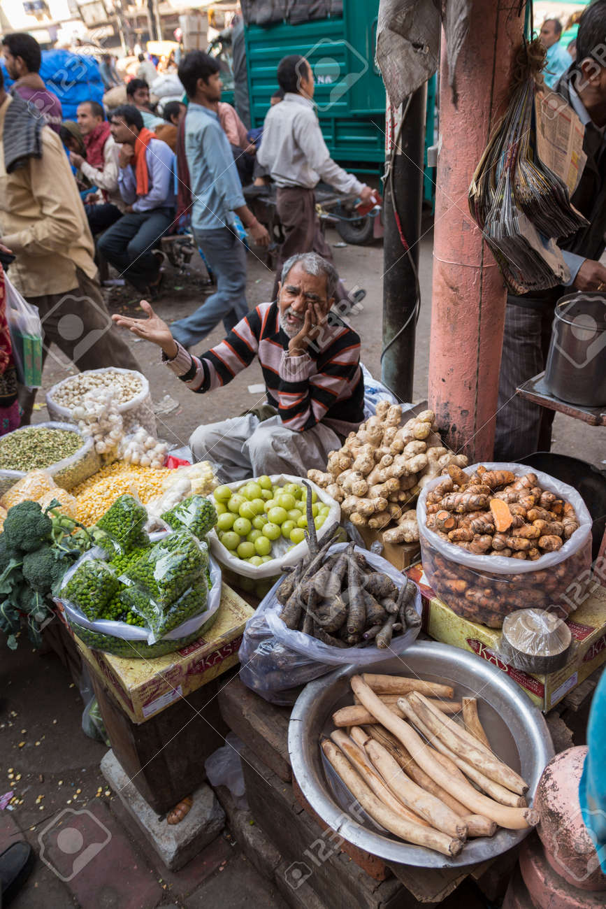 DELHI INDIA - DEC 10 : local vegetable stall in spice market