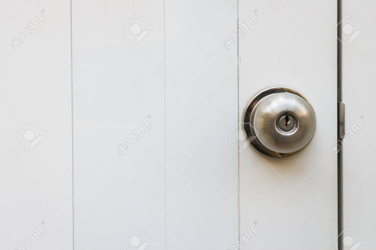 Genial Close Up Of Sphere Shape Style Door Knob On White Door, Selective Focus  Stock Photo