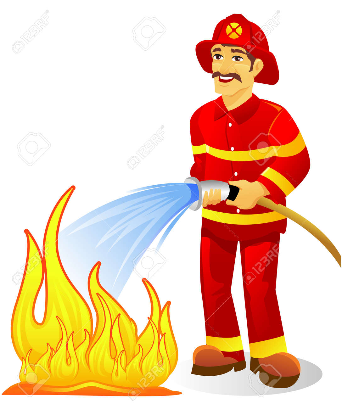 Fire Fighter With Water Hose Royalty Free Cliparts, Vectors, And ...