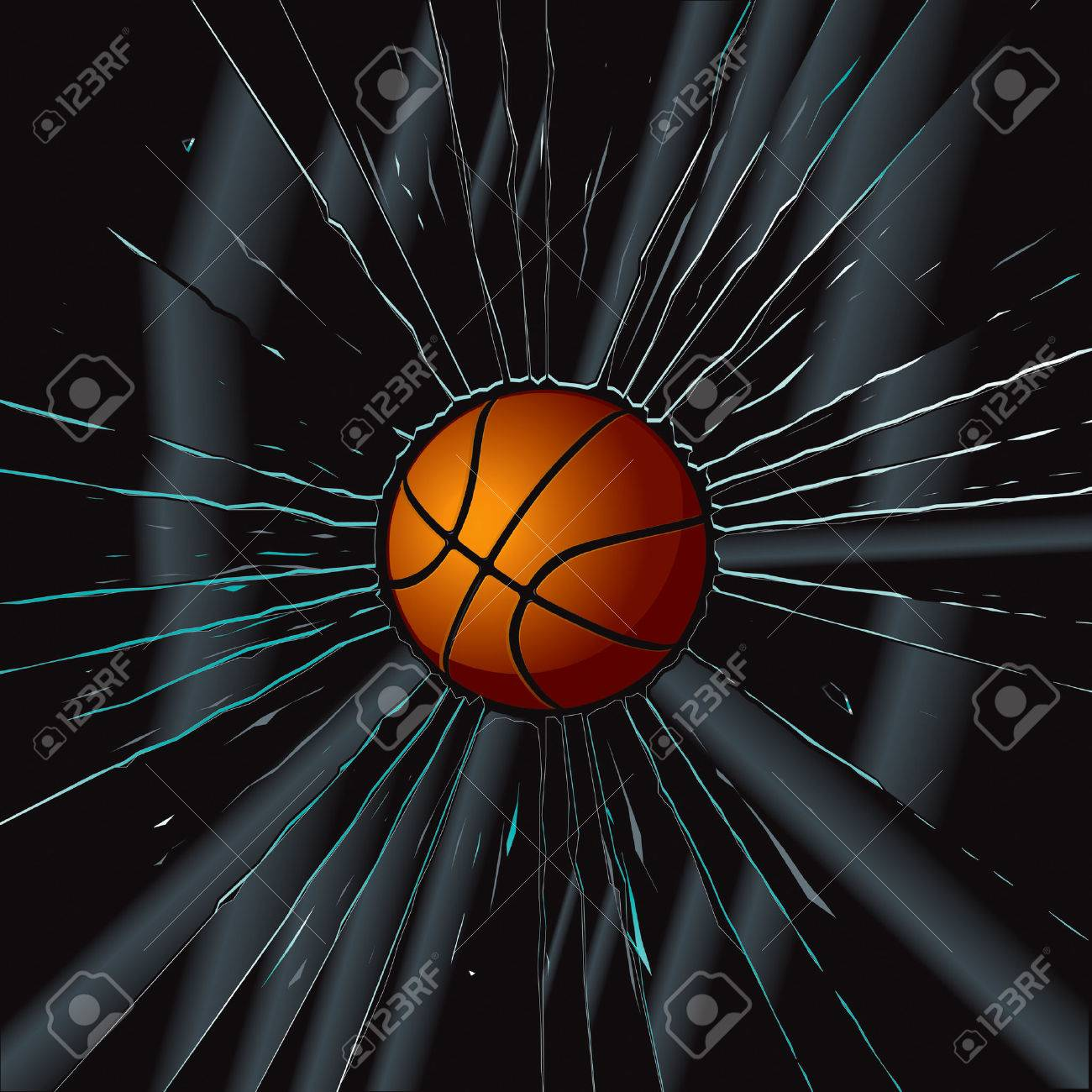 Broken Glass 2 Basketball Stock Vector - 8544442