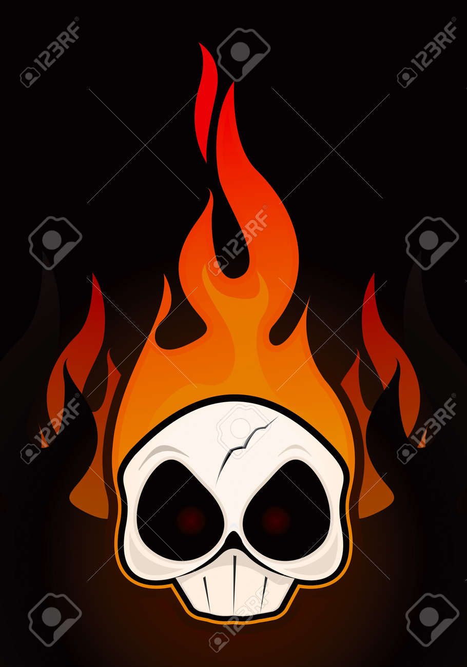 Fire Skull Drawing Stock Vector