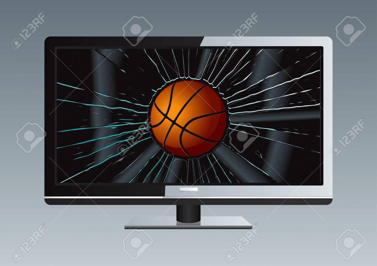 LCD TV Broken Ball Drawing Stock Vector - 8643783