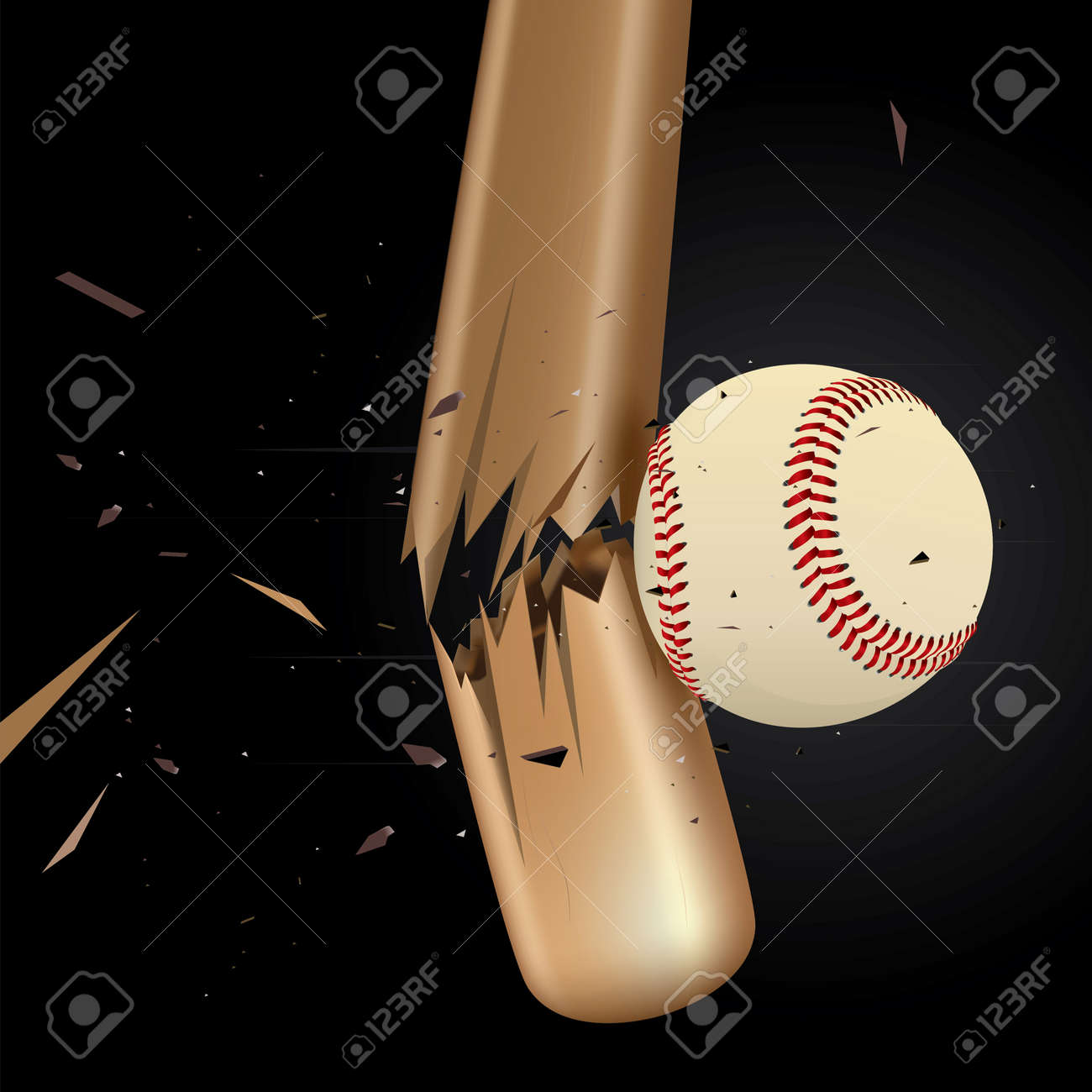 Baseball ball drawing of a broken baseball bat Stock Vector - 9085624