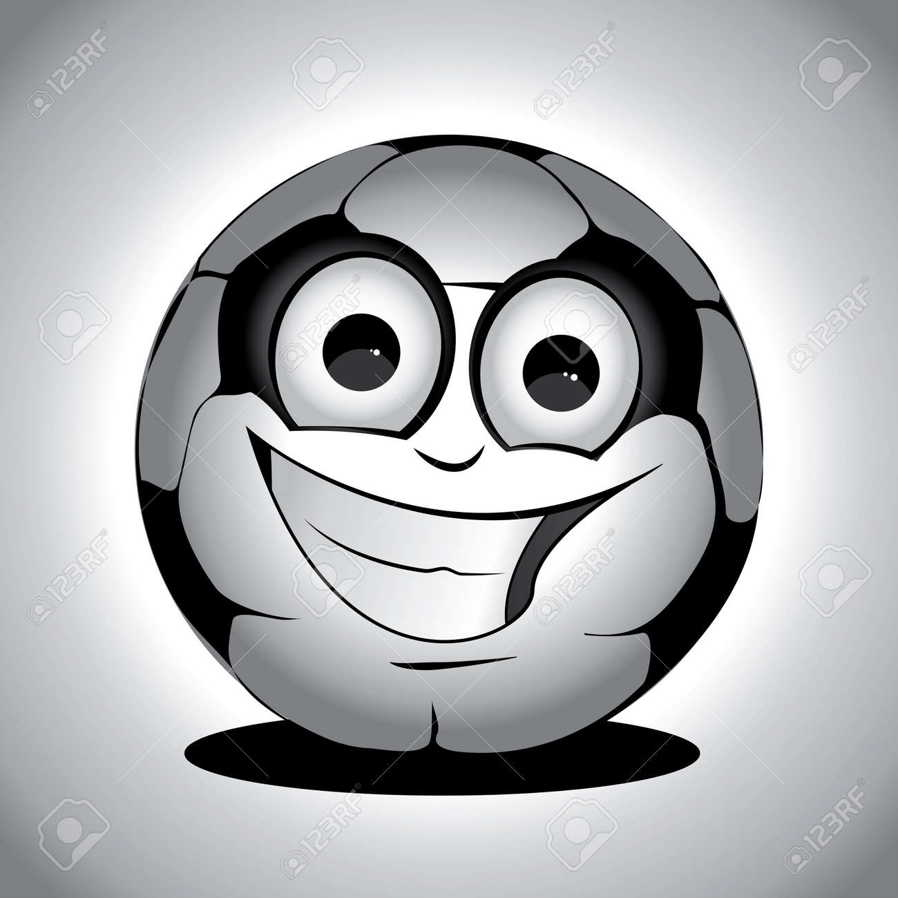 Gray cute soccer ball on the floor drawing Stock Vector - 9357620
