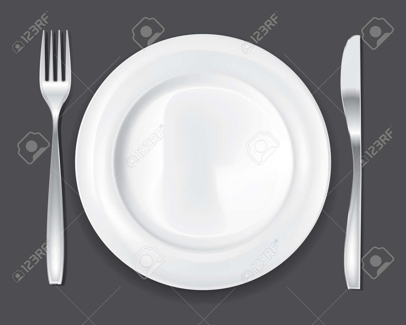 An empty white dish with knife and fork on a table - Empty Dinner Plate Drawing The Knife And Fork Set Stock Vector 11622343
