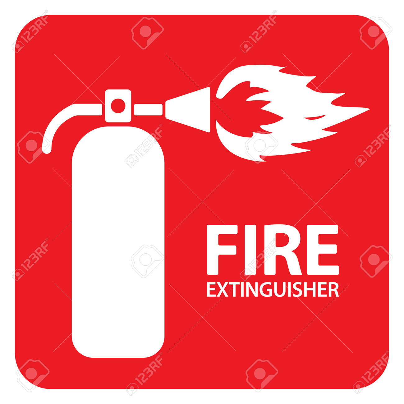Drawing of a red fire extinguisher on the floor
