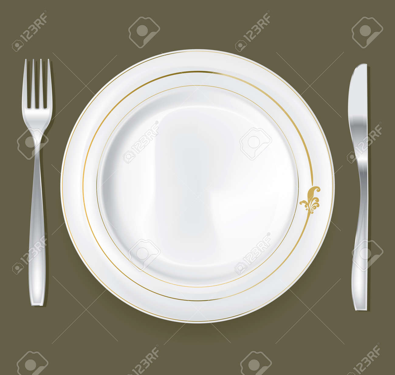 Empty Dinner Plate, Drawing The Knife And Fork Set Royalty Free ...