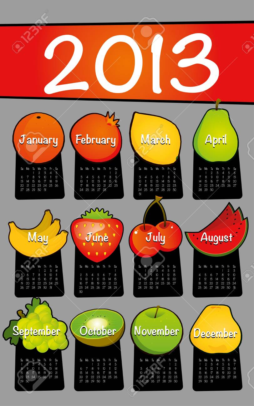 Gray 2013 calendar drawing drawn on the floor of fruit Stock Vector - 11967871