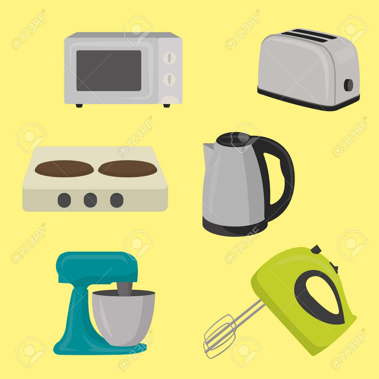 Satz Kleine Haushaltsgeräte Der Küche Entwerfen Ebene, Lokalisiert ...