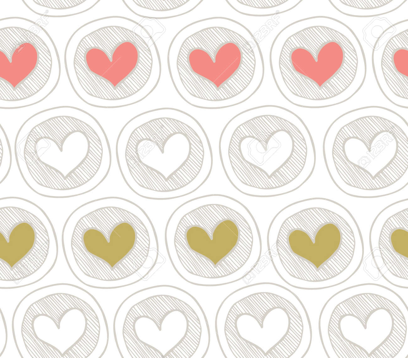 Brigth seamless pattern with hearts in circles. Abstract background with many decorative elements. Colorful cute texture Stock Vector - 15379985