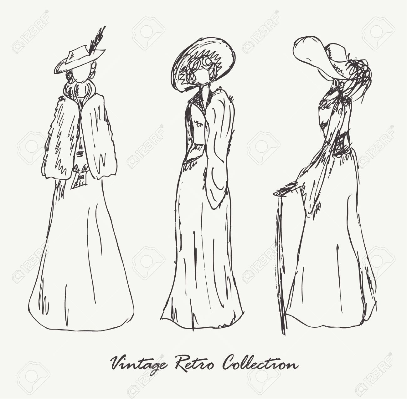 Set with sketches of women in retro clothes  Ladies in vintage dresses  Hand drawn collection of modern women silhouette for magazines, books, carts Stock Vector - 15840042