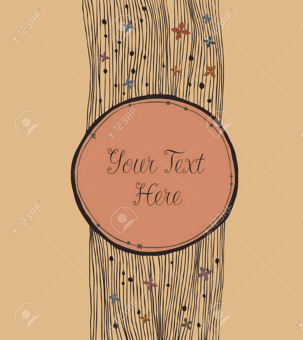 Vintage round banner  Retro elements with place for text and flowers  Can use for gifts, cards, invitations Stock Vector - 15840035