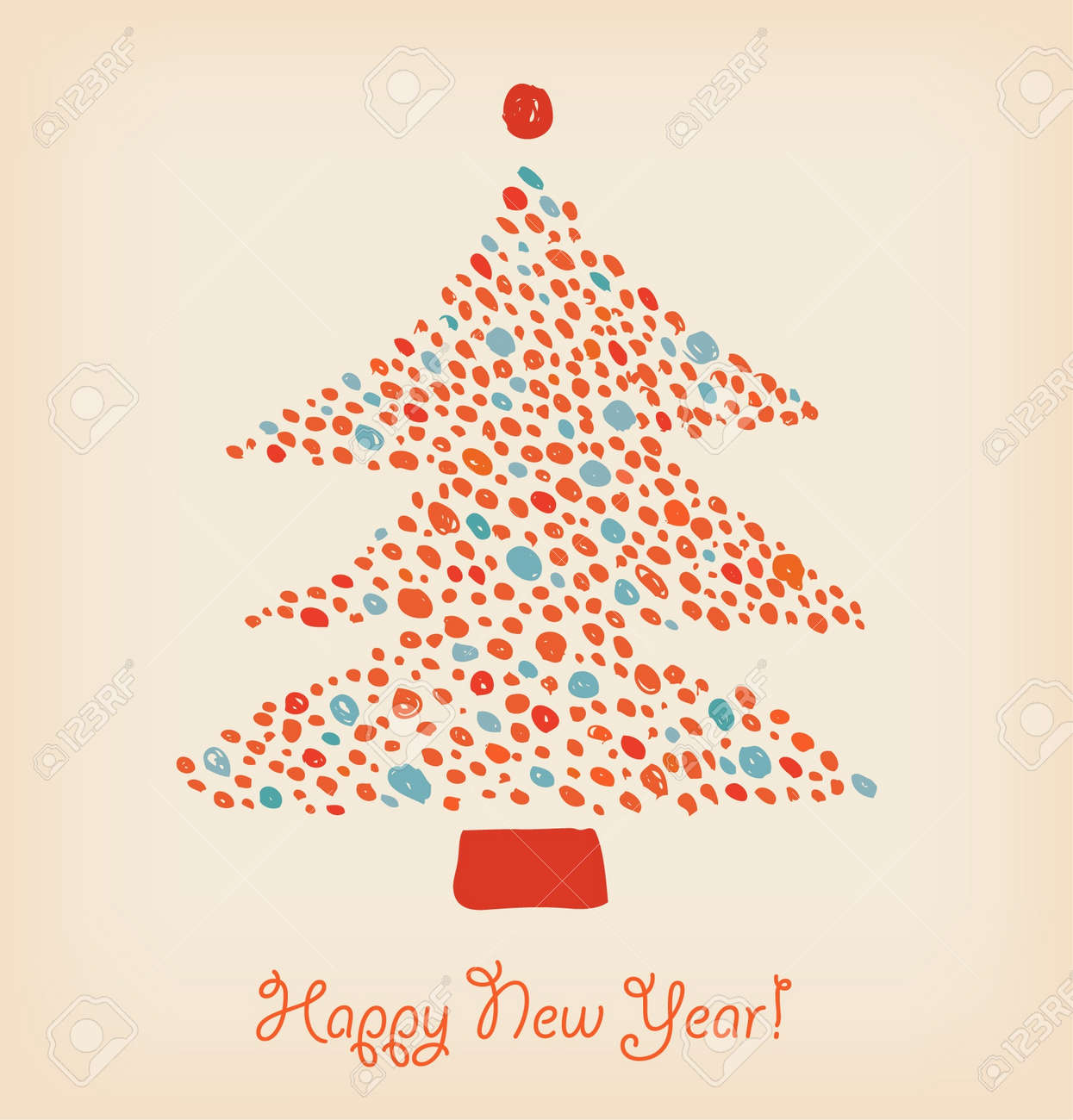 Christmas tree made of dots. Element for holiday design. Retro cute card template Stock Vector - 16007896