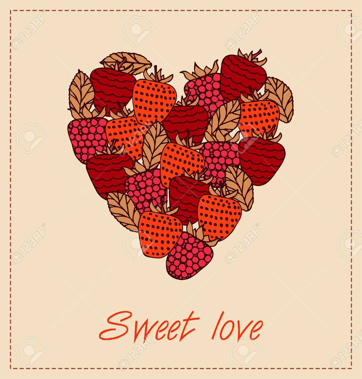 Sweet Love Template With Berries And Heart For Greeting Cards