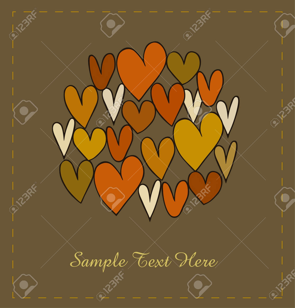 Card template with hearts in circle. Design elements for scrapbooking, gifts, arts, crafts, prints. Cartoon hand drawn background Stock Vector - 16236330