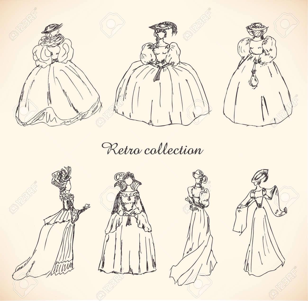 Conjunto De Bocetos De La Mujer En Ropa Retro Señoras En Vestidos De Bola Históricos Dibujado Colección De Siluetas De Mujeres Colección Dibujado A