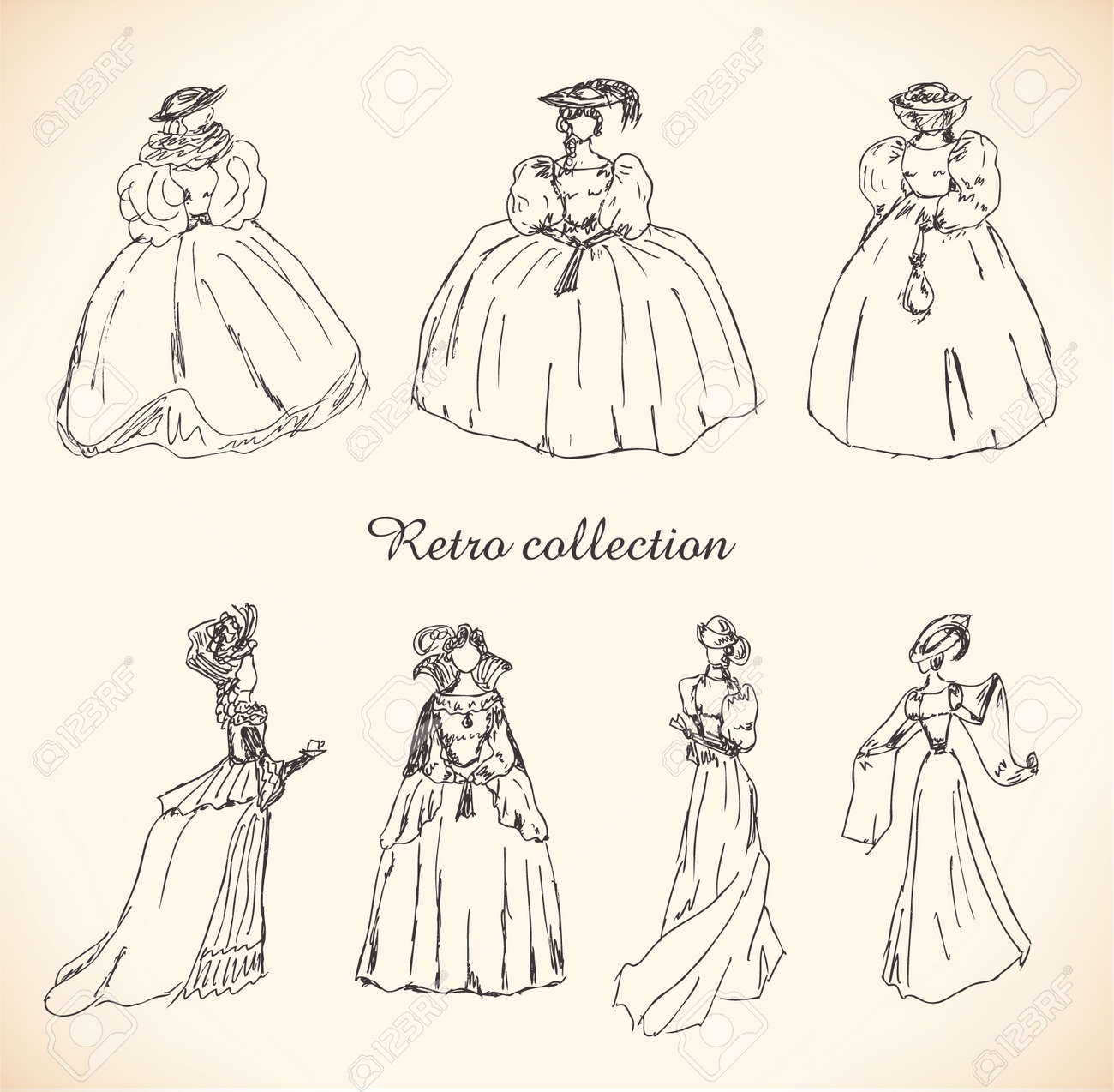 Set with sketches of women in retro clothes. Ladies in historical ball dresses. Drawn collection of women silhouettes. Hand drawn collection of modern women silhouette for magazines, books, cards Stock Vector - 16236388