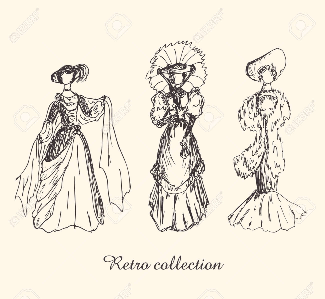 Set with sketches of women in retro clothes. Ladies in vintage dresses. Hand drawn collection of modern women silhouettes Stock Vector - 16236367