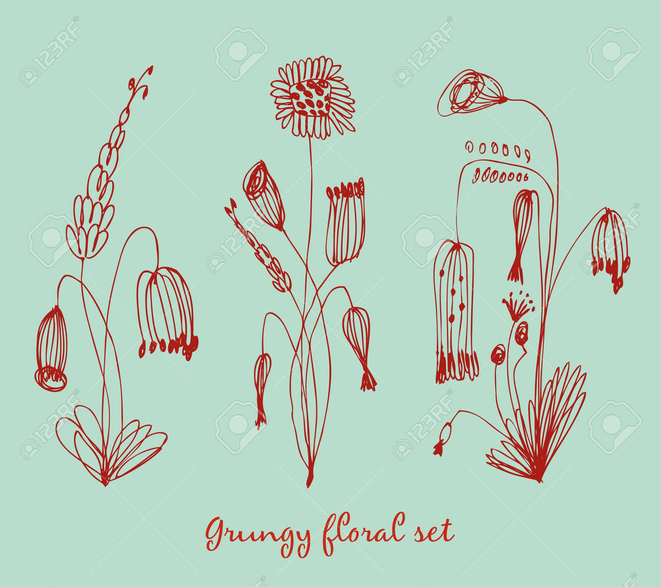 Grungy floral set. Collection of vintage bouquets. Drawn floral compositions Stock Vector - 16236401