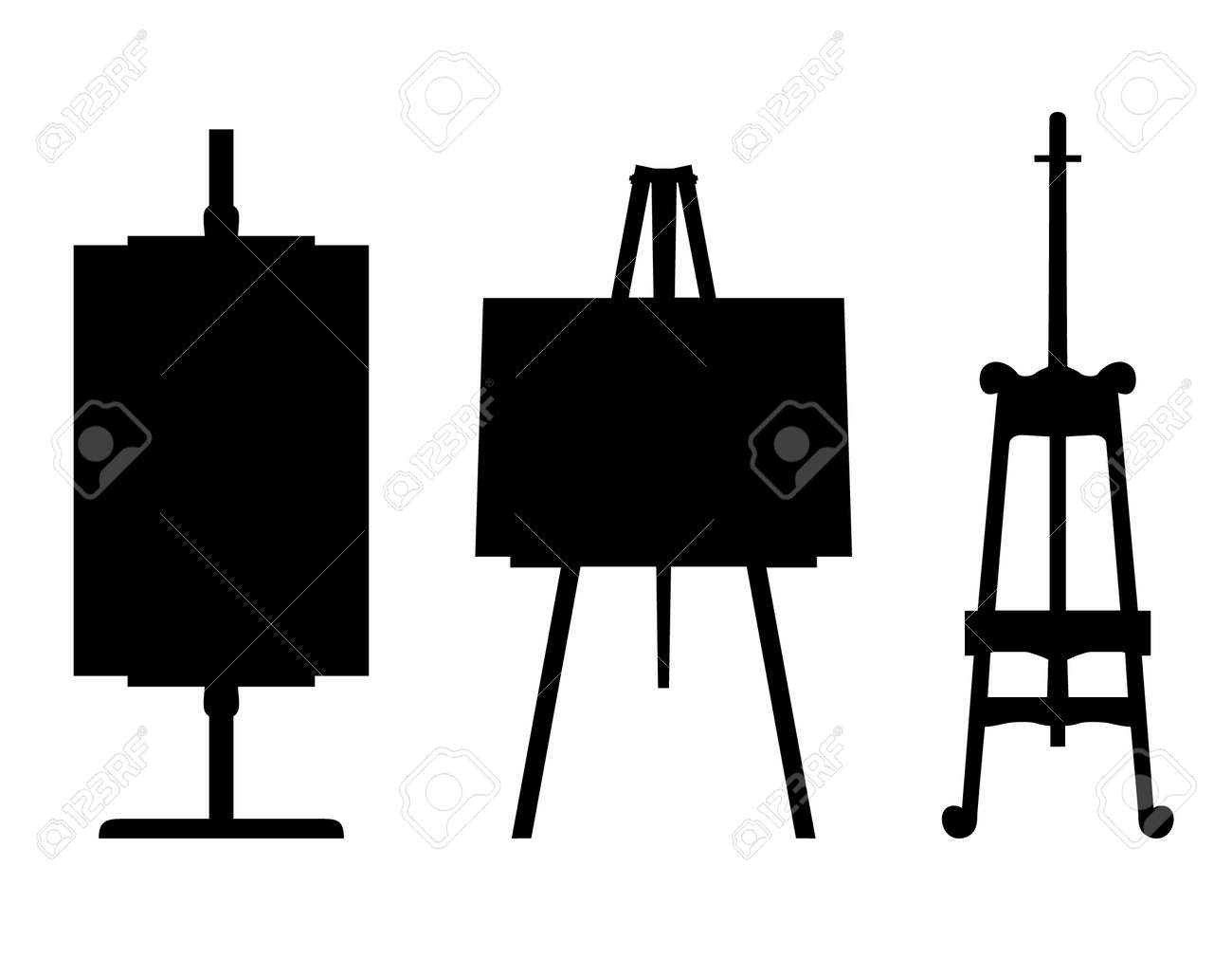 Set of black isolated contour easels silhouettes. Icon collections of artistic instruments, props Stock Vector - 16236394