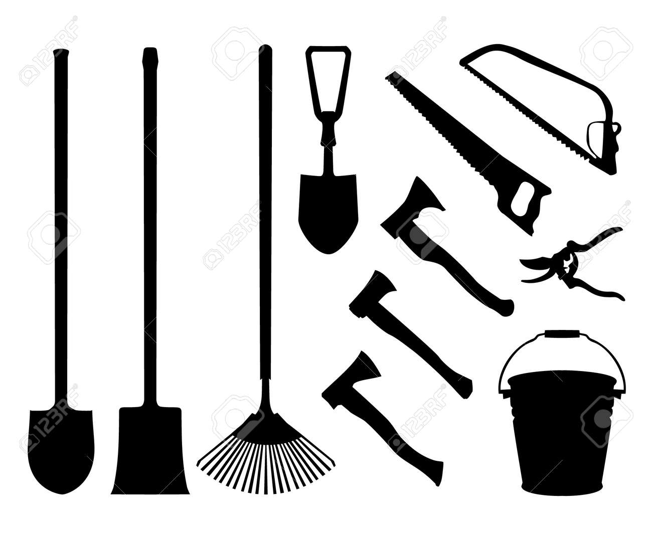 Set of implements. Contour collection of instruments. Black isolated silhouettes of garden tools. Shovel, spade, axe, saw, handsaw, bucket, pail, rake garden shears Stock Vector - 16236397