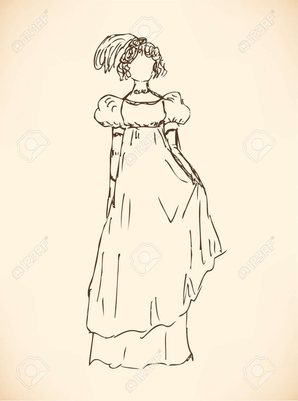 Эскиз романтического платья